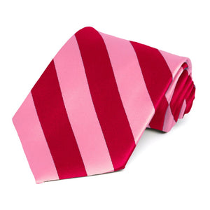 Pink and Red Striped Tie