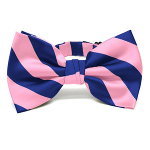 Pink and Royal Blue Striped Bow Tie