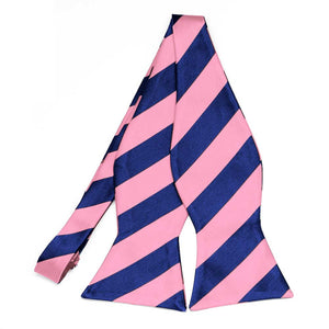 Pink and Royal Blue Striped Self-Tie Bow Tie