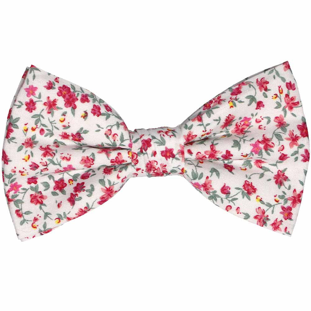 Pink and white small floral bow tie