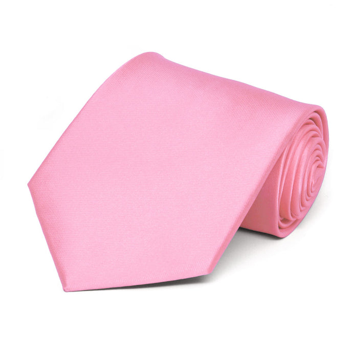 Pink Extra Long Solid Color Necktie