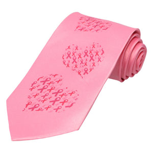 An array of ribbon hearts descending up a pink tie.