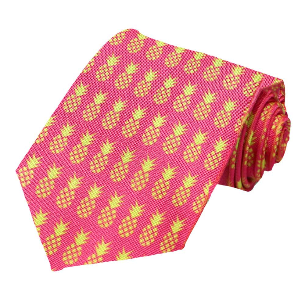 Hot lime pineapple icons on a fuchsia tie.