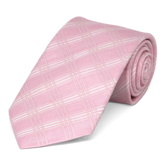 Pink Duchess Plaid Linen/Silk Necktie, 3