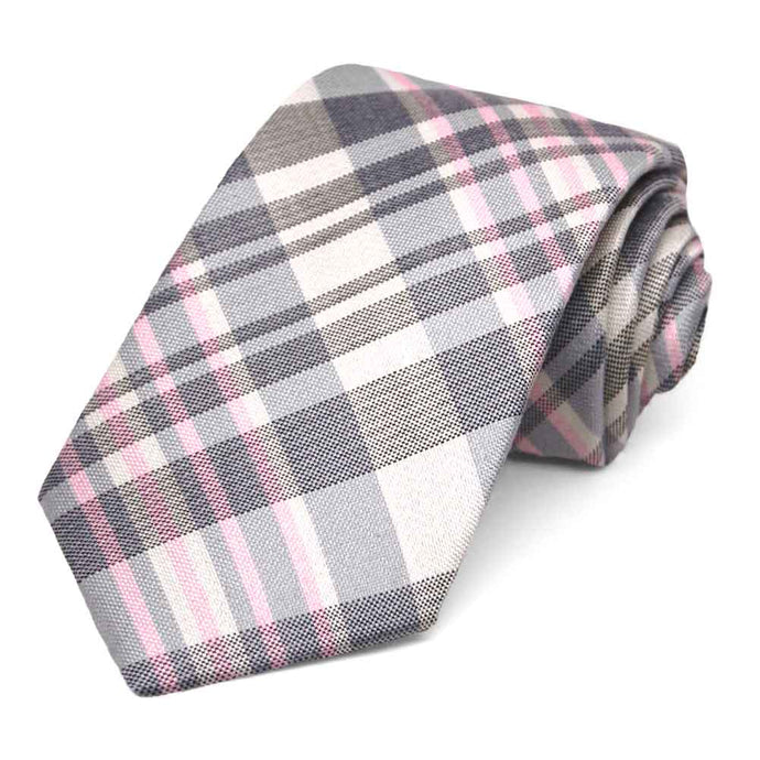 Pink and Gray Practitioner Plaid Silk Necktie, 3