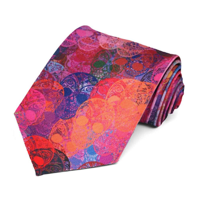 A random sugar skull tie in an array of pinks and blues.