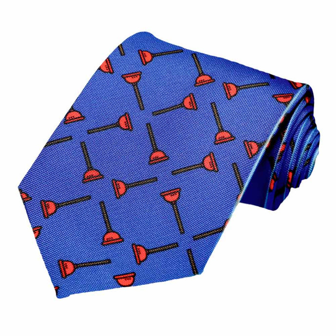 Cross hatch plunger icons on a blue tie.