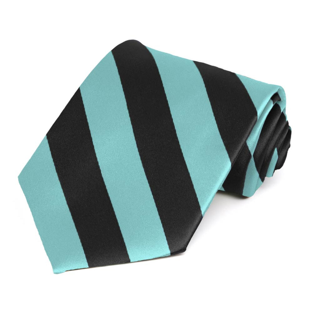 Pool and Black Striped Tie