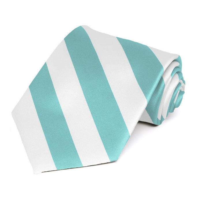 Pool and White Striped Tie