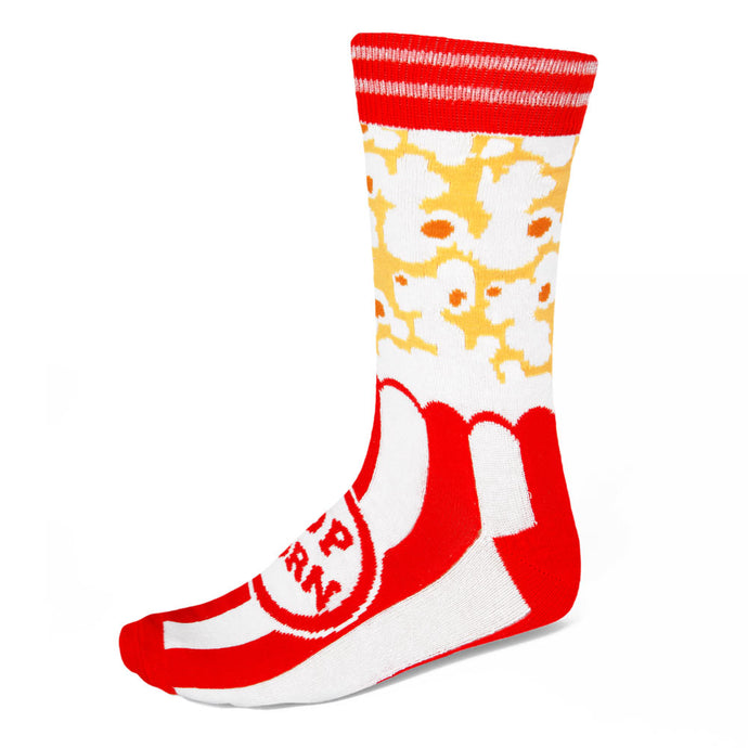 Men's popcorn theme socks on red, white and yellow