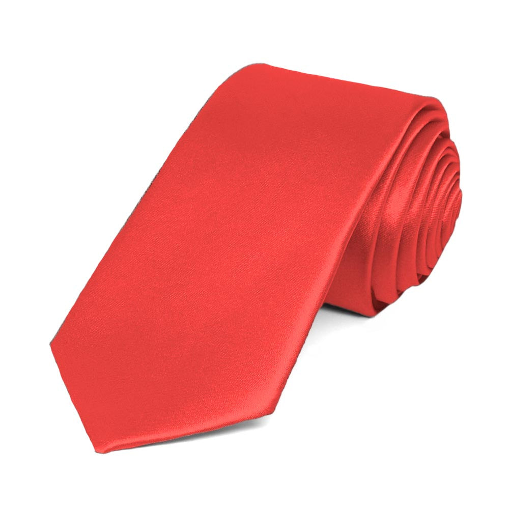 Poppy Slim Solid Color Necktie, 2.5