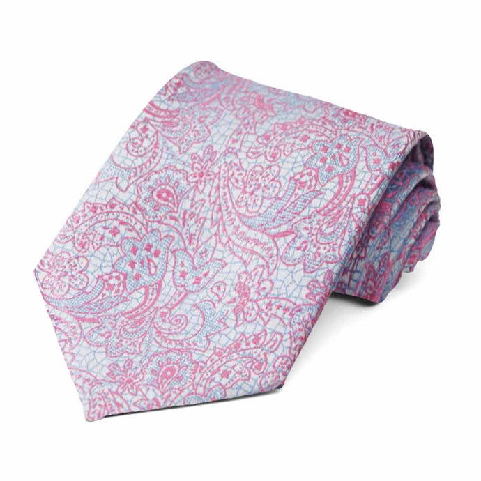 Pale Blue and Antique Pink Galway Floral Necktie