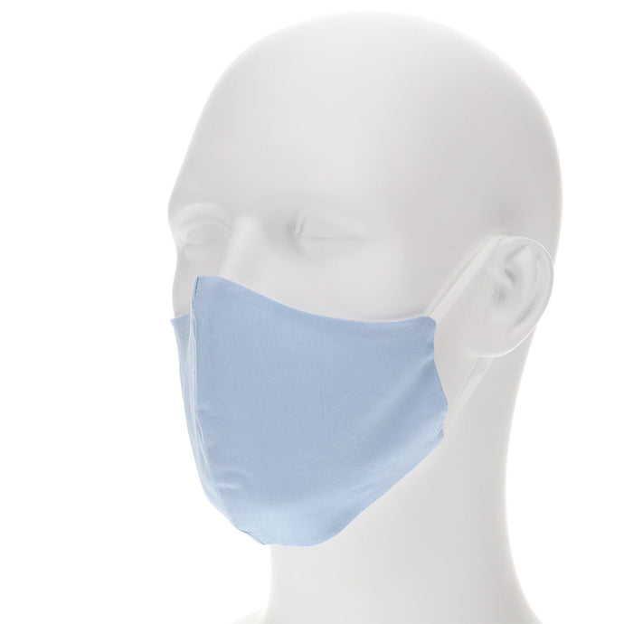 powder blue face mask on a mannequin with filter pocket