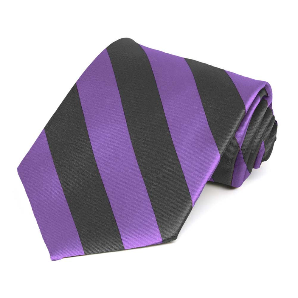 Purple and Dark Gray Striped Tie