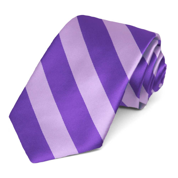 Purple and Lavender Striped Narrow Tie, 3