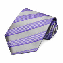 Load image into Gallery viewer, Purple and silver spring striped tie