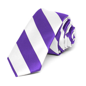 "Purple and White Striped Skinny Tie, 2"" Width"