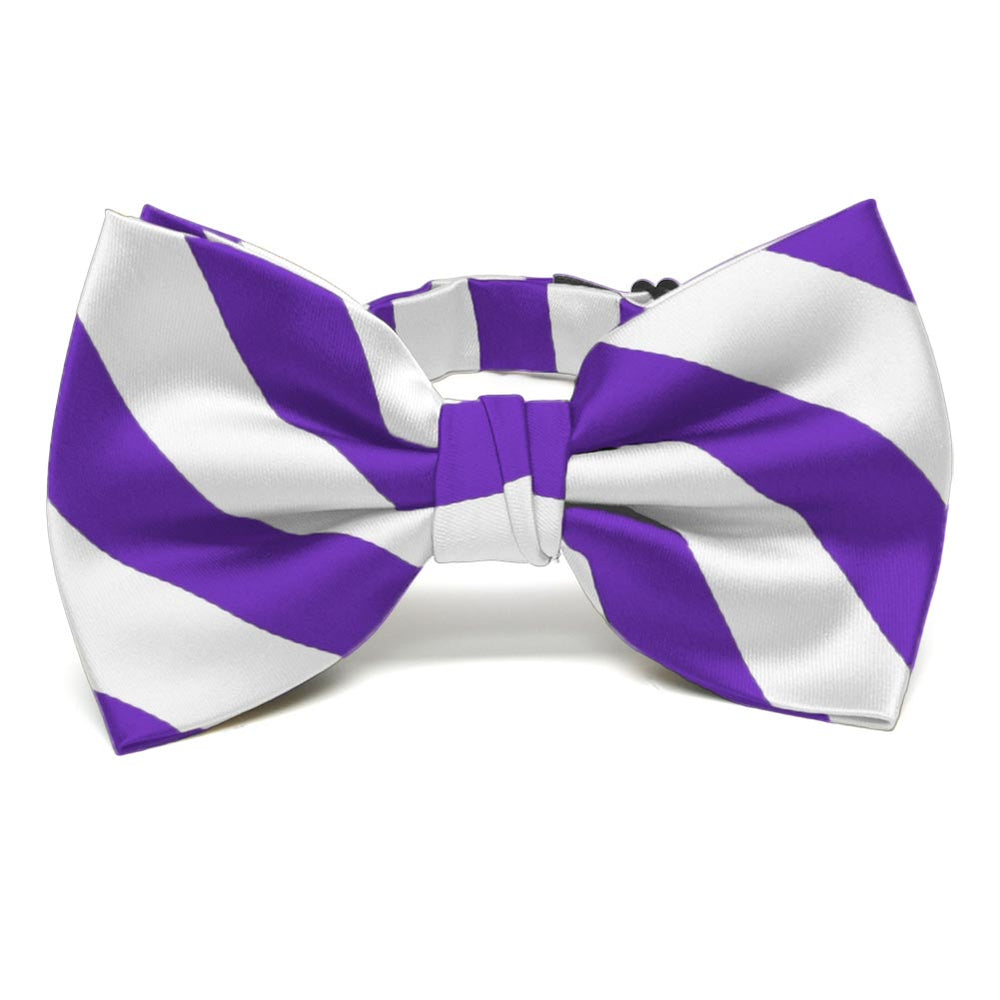 Purple and White Striped Bow Tie