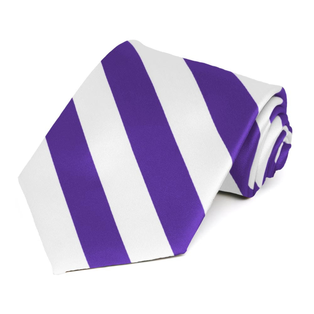 Purple and White Extra Long Striped Tie
