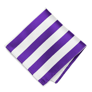 Purple and White Striped Pocket Square