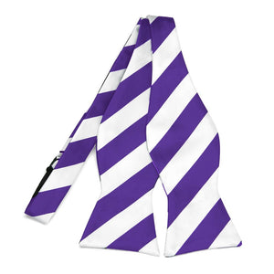 Purple and White Striped Self-Tie Bow Tie