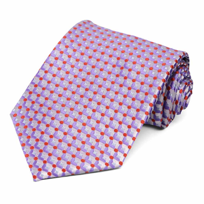 Purple and red geometric tie