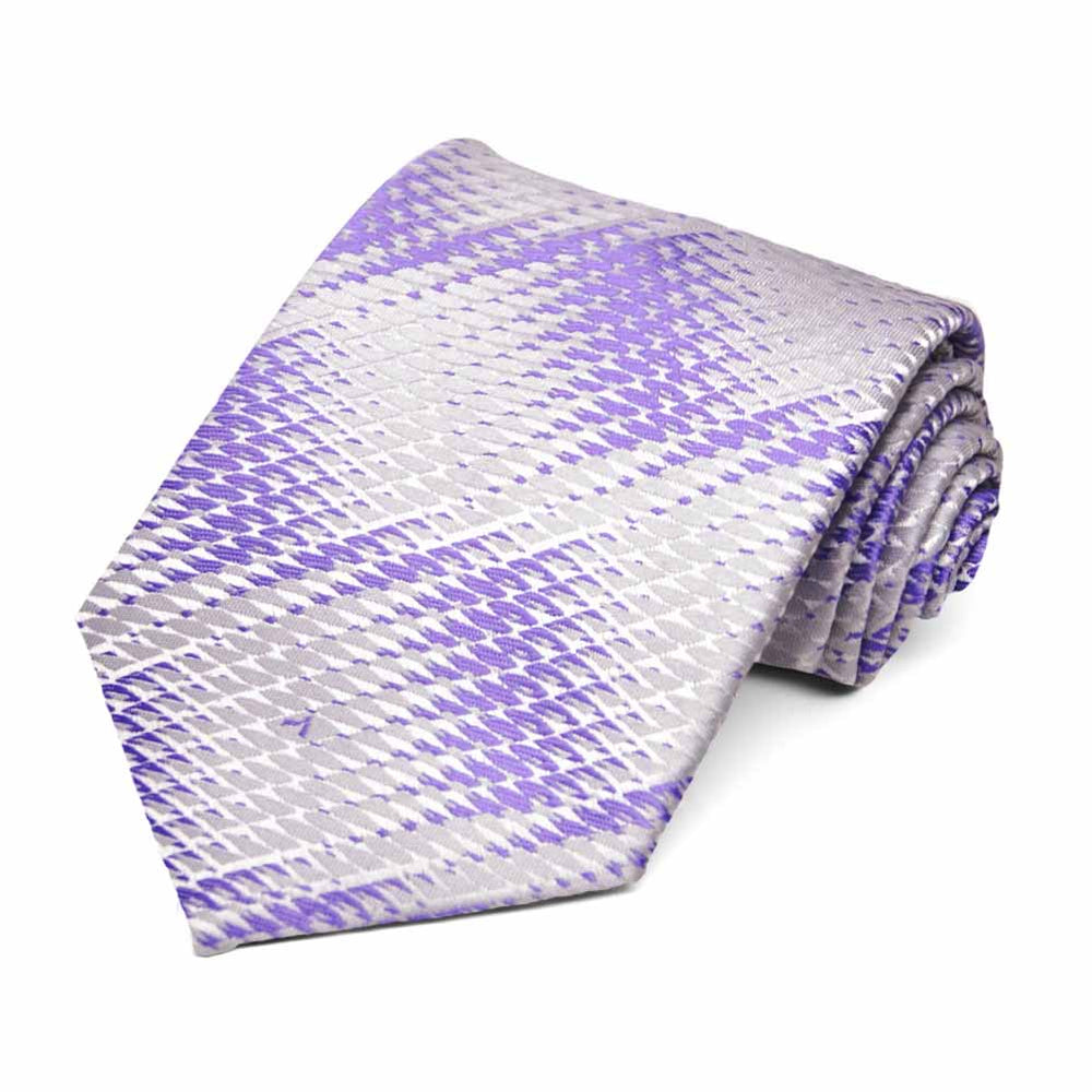 Purple Downey Geometric Necktie