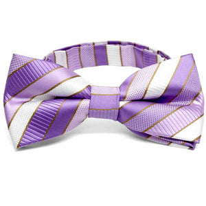 Thistle Purple Douglas Stripe Band Collar Bow Tie
