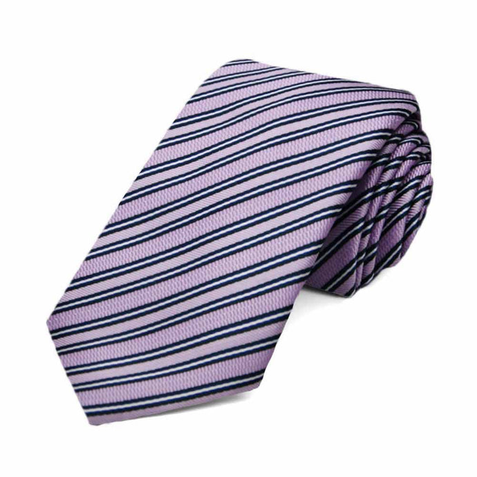 Lavender Alice Striped Slim Necktie