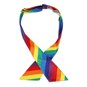 Rainbow color striped crossover tie