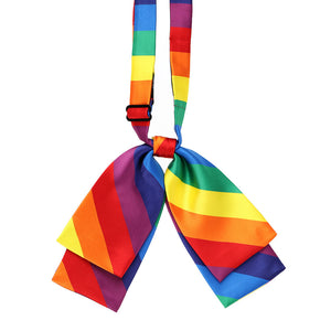 Rainbow color striped floppy bow tie