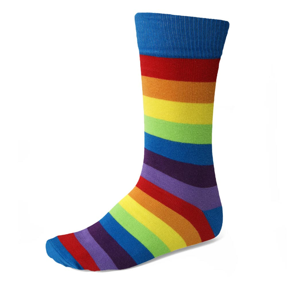 Show your pride! Rainbow colors perfect horizontal striped socks, wear them anywhere.