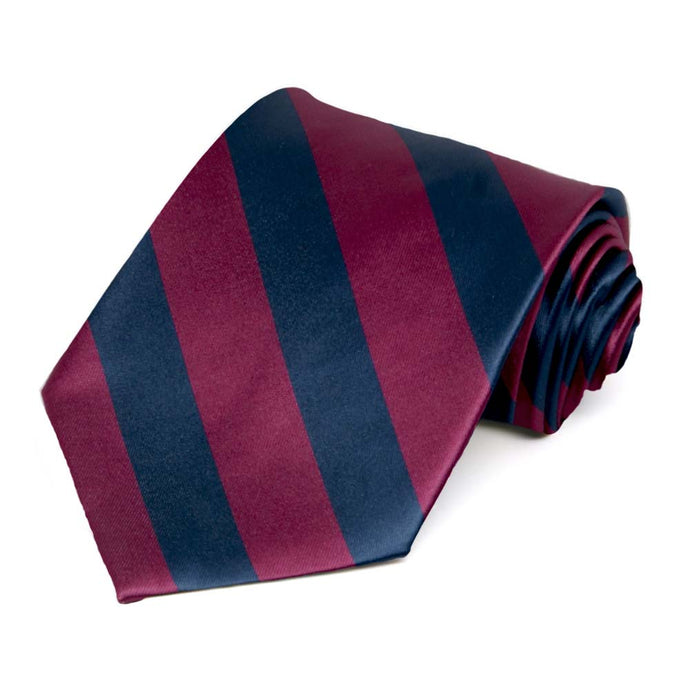 Raspberry and Navy Blue Striped Tie