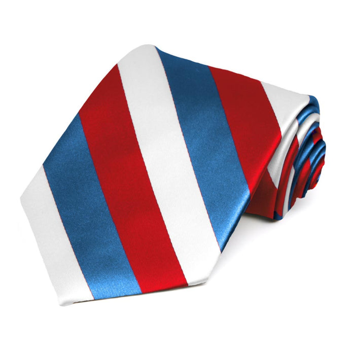 Red, Medium Blue and White Striped Tie