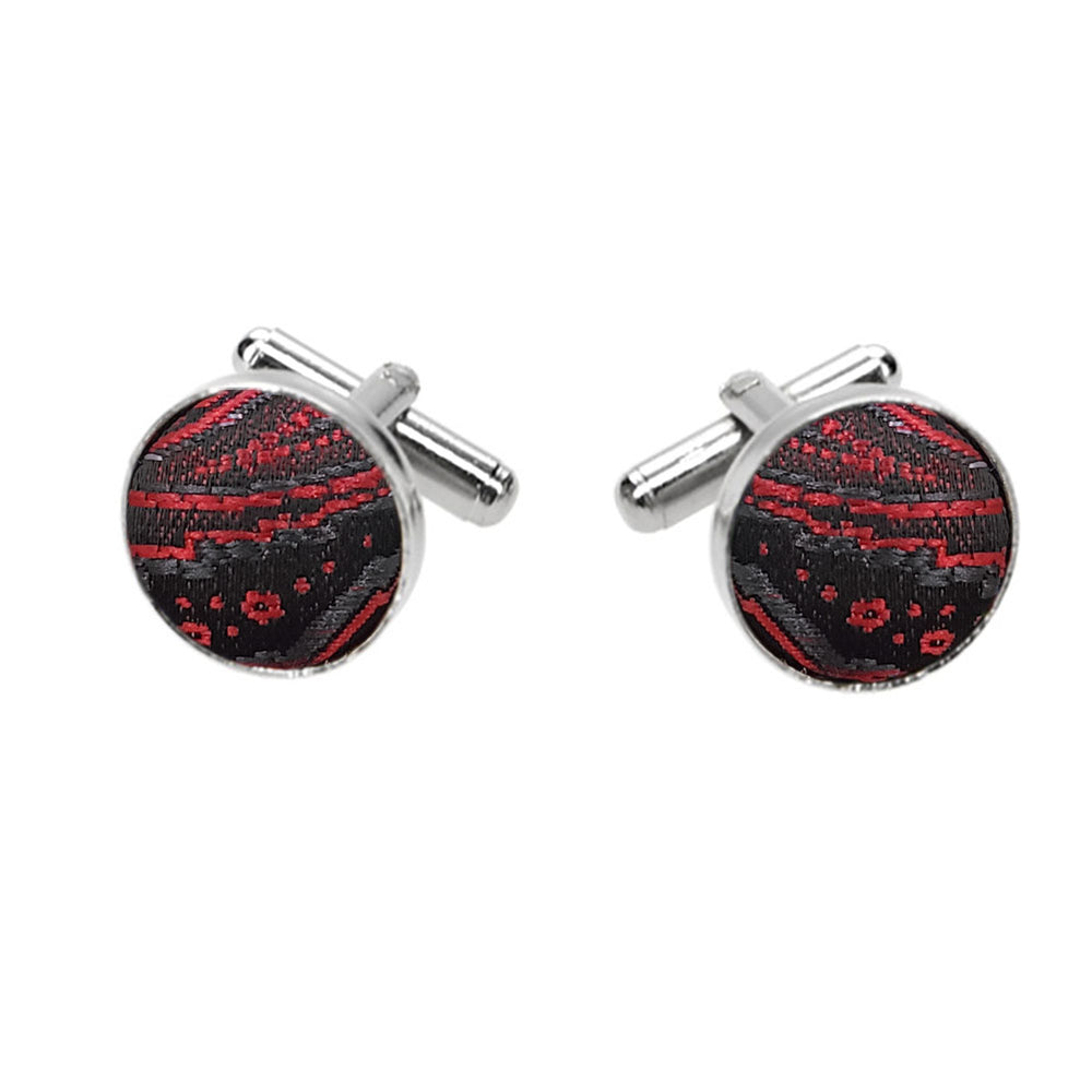 Crimson red and Black Large Paisley Fabric Cufflinks