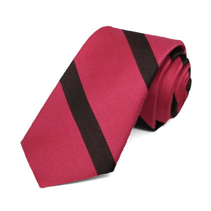 "Red and Black Striped Cotton/Silk Slim Necktie, 2.5"" Width"