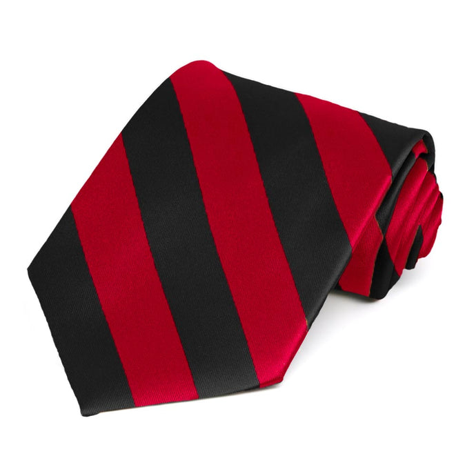 Red and Black Extra Long Striped Tie