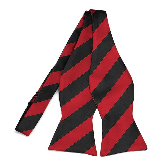 Red and Black Striped Self-Tie Bow Tie
