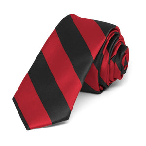 "Red and Black Striped Skinny Tie, 2"" Width"