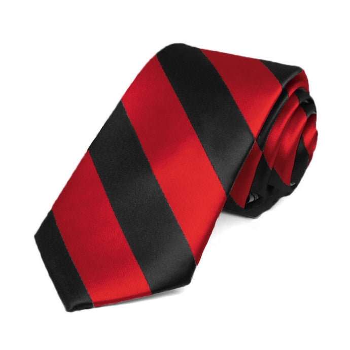 Red and Black Striped Slim Tie, 2.5