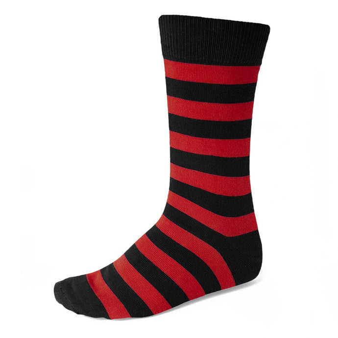 Men's Red and Black Striped Socks