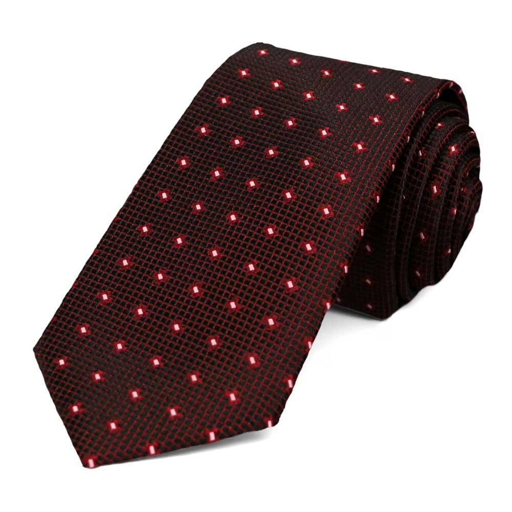 Dark red textured dot slim tie
