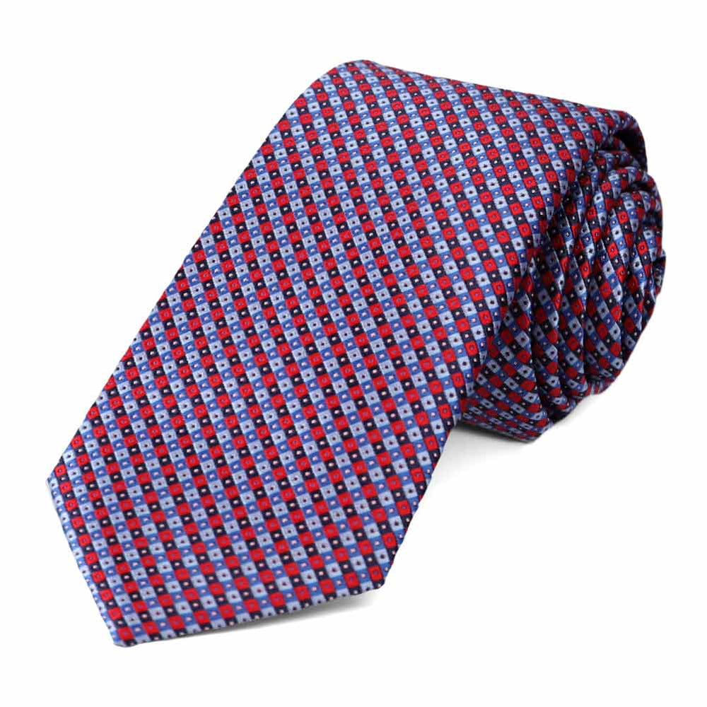 Red and Blue Parker Checked Slim Necktie