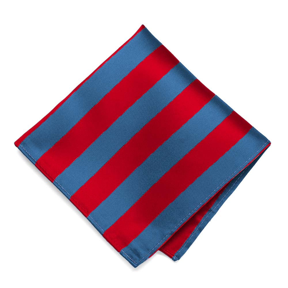 Red and Blue Striped Pocket Square