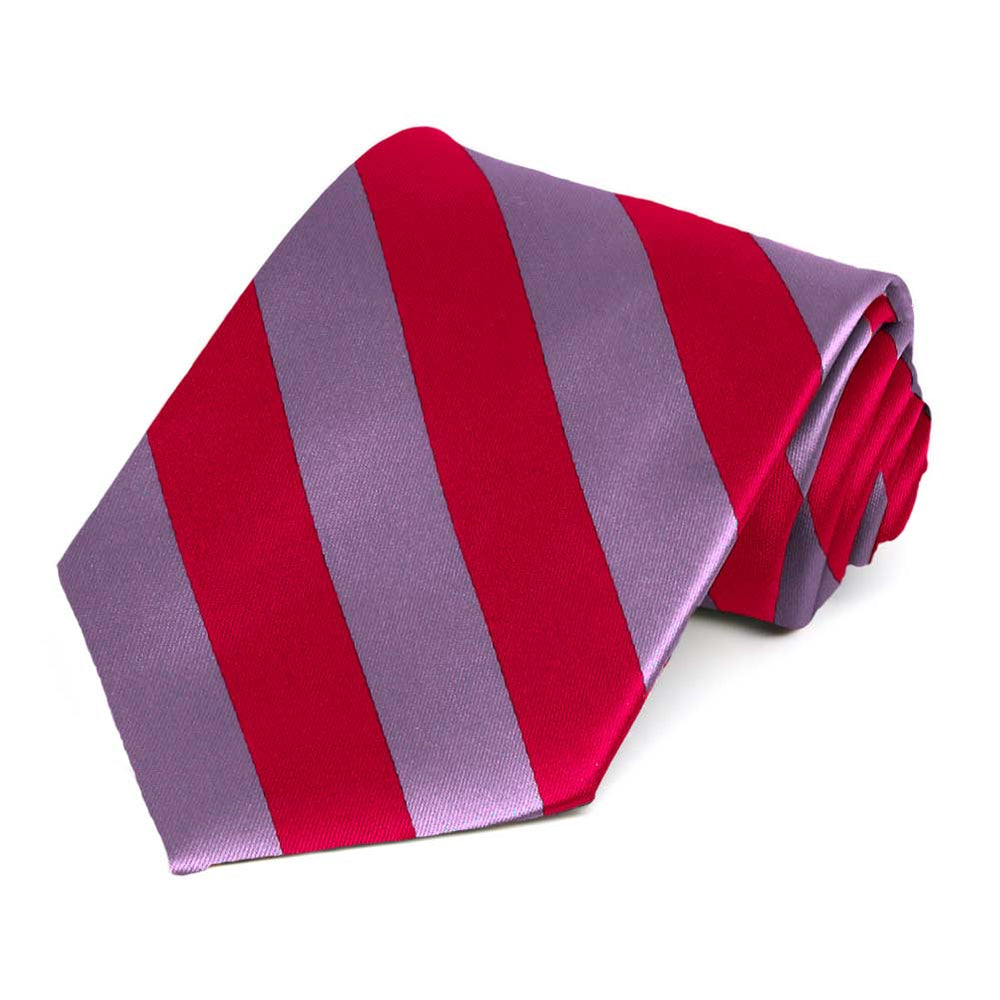 Red and Dark Lavender Striped Tie
