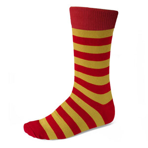 Men's Red and Gold Striped Socks