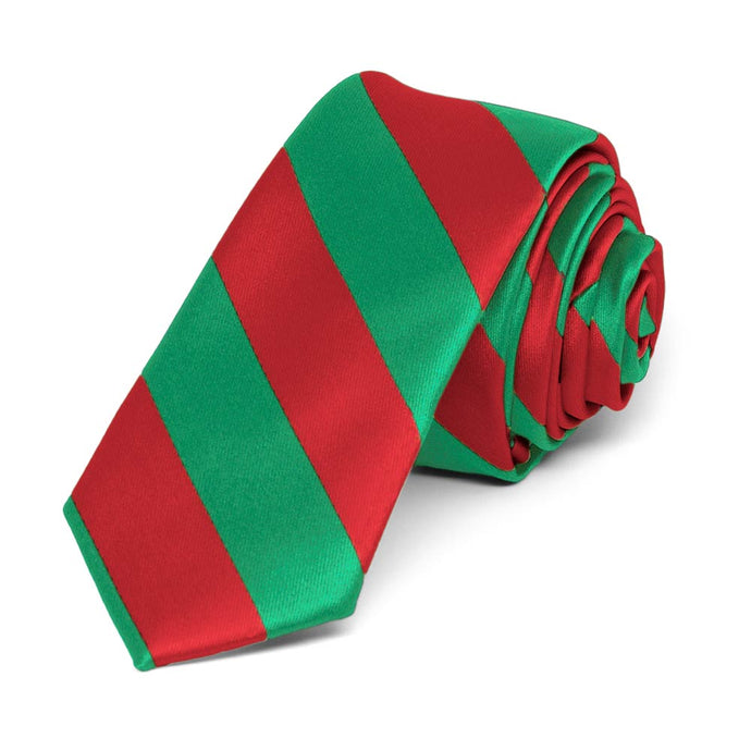 Red and Green Striped Skinny Tie, 2