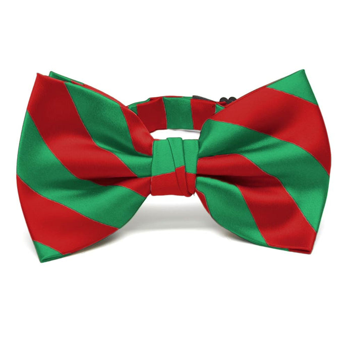 Red and Green Striped Bow Tie