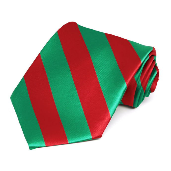 Red and Green Extra Long Striped Tie