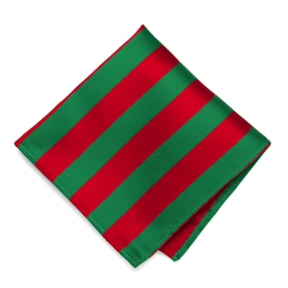 Red and Green Striped Pocket Square
